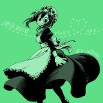 1girl :> aiue0 alternate_costume apron asui_tsuyu black_dress black_eyes black_hair blush blush_stickers boku_no_hero_academia commentary_request dress enmaided frilled_hat frills frog_girl graphite_(medium) green_theme hat long_hair maid maid_apron maid_day maid_headdress millipen_(medium) mob_cap monochrome puffy_sleeves solo traditional_media waist_apron white_headwear wrist_cuffs