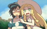 1boy 1girl bare_arms bare_shoulders baseball_cap black_hair blonde_hair blush braid collarbone constricted_pupils day dress furrowed_eyebrows green_eyes hat lillie_(pokemon) long_hair looking_at_another looking_at_viewer looking_to_the_side medium_hair open_mouth outdoors pale_skin pokemon pokemon_(game) pokemon_sm shirt shirt_grab shiwo_(siwosi) short_sleeves sleeveless sleeveless_dress sun_hat sundress tearing_up twin_braids upper_body white_dress white_headwear you_(pokemon)