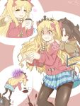 2girls bad_id bad_pixiv_id behind_another black_legwear black_ribbon blonde_hair brown_hair closed_eyes coat coffee coffee_cup commentary cup dated disposable_cup dropping duffel_coat ereshkigal_(fate/grand_order) fate/grand_order fate_(series) hair_ribbon hands_on_another's_neck holding holding_cup ishtar_(fate/grand_order) long_hair miniskirt multiple_girls open_mouth orz otaru pantyhose red_coat red_eyes red_ribbon ribbon scarf skirt tiara translated two_side_up