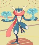 full_body gen_6_pokemon greninja half-closed_eyes hands_up leg_up long_tongue looking_at_viewer no_humans pokemon pokemon_(creature) red_eyes shiwo_(siwosi) solo standing standing_on_one_leg super_smash_bros. tongue tongue_out water