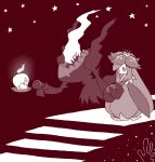 candle crown darkrai fire floating flower full_body gen_4_pokemon gen_5_pokemon hand_up happy holding holding_hands lilligant litwick looking_at_another looking_away mini_crown monochrome no_humans no_mouth open_mouth pokemon pokemon_(creature) shiwo_(siwosi) sky smile stairs standing star star_(sky) starry_sky