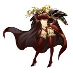 1girl absurdres blonde_hair blue_eyes boots bracer breasts cape earrings facial_mark fingernails fur_trim grin high_heels highres jewelry langrisser langrisser_ii large_breasts lipstick long_hair makeup mole mole_under_mouth necklace official_art pauldrons red_legwear simple_background smile solo thigh-highs thigh_boots white_background
