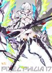 1girl 2d bare_shoulders bodysuit breasts closed_mouth commentary elbow_gloves fire gloves grey_background hair_over_one_eye holding holding_weapon large_breasts long_hair machinery mecha_musume multicolored open_toe_boots original panties revealing_clothes short_hair signature solo thigh-highs title underwear weapon white_hair yellow_eyes