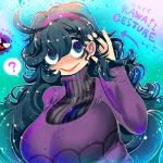 1girl ? ahoge al_bhed_eyes bangs black_hair blue_eyes breasts directional_arrow gastly gen_1_pokemon hair_between_eyes hairband hakkasame hand_in_hair hand_up hex_maniac_(pokemon) huge_breasts long_hair long_sleeves messy_hair multicolored multicolored_eyes npc_trainer open_mouth pokemon pokemon_(creature) pokemon_(game) pokemon_xy purple_hairband smile solo speech_bubble spider_web_print spoken_question_mark sweat turtleneck very_long_hair violet_eyes