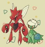 beige_background blue_flower blue_rose eye_contact flower full_body gen_2_pokemon gen_4_pokemon half-closed_eyes insect_wings looking_at_another looking_to_the_side no_humans open_mouth pokemon pokemon_(creature) red_eyes red_flower red_rose rose roserade scizor shiwo_(siwosi) short_hair standing white_hair wings yellow_eyes