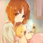 1girl artist_name bandages bangs bedroom blanket boko_(girls_und_panzer) brown_eyes brown_hair cellphone eyebrows_visible_through_hair girls_und_panzer green_shirt half-closed_eyes highres holding holding_cellphone holding_phone holding_stuffed_animal indoors kuroi_mimei light_blush nishizumi_miho pajamas phone shirt short_hair signature sitting solo stuffed_animal stuffed_toy teddy_bear