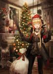 2girls amputee android armless blood blood_splatter christmas christmas_tree closed_eyes commentary crazy dissection fireplace gift_bag girls_frontline gloves hat highres legless lithium10mg m4_sopmod_ii_(girls_frontline) machete multiple_girls pantyhose quadruple_amputee sack sangvis_ferri santa_hat saw smile torso wire
