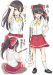 1girl alternate_costume armpits arms_behind_head arms_up bangs black_footwear black_hair blush bow bowtie breasts brown_eyes commentary_request contemporary cropped_torso eyebrows_visible_through_hair frilled_bow frills from_behind gohei hair_between_eyes hair_bow hair_tubes hakurei_reimu hand_on_hip highres holding igakusei kneehighs loafers long_hair looking_at_viewer medium_breasts miniskirt multiple_views one_eye_closed open_mouth ponytail red_bow red_skirt school_uniform shirt shoes short_sleeves sidelocks simple_background sitting skirt smile touhou translated white_background white_legwear white_shirt wing_collar yellow_bow yellow_neckwear