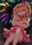 1girl absurdres blonde_hair blurry blurry_background convenient_leg cravat crossed_arms crystal dated depth_of_field eyebrows_visible_through_hair fang feet_out_of_frame flandre_scarlet floating glowing glowing_eyes gunjou_row hair_between_eyes hat hat_ribbon head_tilt highres knee_up leg_lift midriff mob_cap night open_mouth outdoors petticoat pink_headwear pink_shirt puffy_short_sleeves puffy_sleeves red_eyes red_skirt red_vest ribbon shirt short_hair short_sleeves side_ponytail signature sitting skirt skirt_set slit_pupils solo touhou vest wings yellow_neckwear