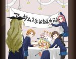 5girls assam bangs banner birthday_cake black_bow black_legwear black_ribbon blonde_hair blue_skirt blue_sweater bow braid brown_hair cake commentary darjeeling dress_shirt english_text fake_facial_hair fake_mustache food frown funny_glasses garland_(decoration) girls_und_panzer glasses hair_bow hair_ornament hair_over_shoulder hair_ribbon hairclip happy_birthday hat indoors ladder leaning_forward long_hair long_sleeves looking_at_another looking_back miniskirt multiple_girls opaque_glasses open_mouth orange_hair orange_pekoe pantyhose parted_lips party_horn pillarboxed pleated_skirt redhead ribbon rosehip rukuriri school_uniform shirt short_hair single_braid sitting skirt solid_circle_eyes st._gloriana's_school_uniform standing star sweatdrop sweater table tablecloth tied_hair translated v-neck white_headwear white_shirt yuuhi_(arcadia)