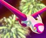 commentary creature english_commentary fireworks flying full_body gen_3_pokemon highres latias legendary_pokemon night night_sky pokemon pokemon_(creature) sky solo star_(sky) starry_sky twime777 yellow_eyes