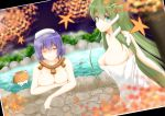 3girls air_bubble bare_shoulders blue_eyes bubble commentary_request covering covering_breasts frog_hair_ornament green_hair hair_ornament highres kochiya_sanae leaf long_hair maple_leaf moriya_suwako multiple_girls naked_towel notya nude one_eye_closed onsen partially_submerged photo_(object) purple_hair pyonta red_eyes rope shimenawa short_hair snake_hair_ornament touhou towel water yasaka_kanako
