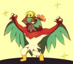 arms_up black_sclera blank_eyes blue_eyes claw_pose claws full_body furry gen_5_pokemon gen_6_pokemon hawlucha joltik no_humans on_head open_mouth pokemon pokemon_(creature) pokemon_on_head shiwo_(siwosi) simple_background standing wings yellow_background yellow_eyes