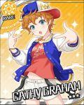 blue_eyes cathy_graham character_name idolmaster idolmaster_cinderella_girls jacket orange_hair short_hair stars