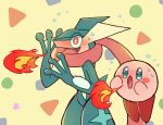 blue_eyes blush blush_stickers breathing_fire fire flying_sweatdrops full_body furry gen_6_pokemon greninja hands_up jumping kirby kirby_(series) long_tongue no_humans nose_blush open_mouth pokemon pokemon_(creature) red_eyes shiwo_(siwosi) standing super_smash_bros. sweat tail tongue tongue_out wide-eyed yellow_background