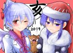 2019 2girls :3 ;) adapted_costume bangs black_kimono blue_eyes blue_hair blush boar border bow breast_smother breasts collarbone commentary_request doremy_sweet eyebrows_visible_through_hair fur_trim giving_up_the_ghost hair_between_eyes hair_bow half_updo hat japanese_clothes kimono kishin_sagume large_breasts looking_at_viewer multiple_girls nightcap one_eye_closed oshiaki outside_border pom_pom_(clothes) red_border red_bow red_eyes red_headwear short_hair sidelocks silver_hair simple_background single_wing smile touhou translated upper_body white_background white_kimono white_wings wings
