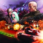 advance_wars:_days_of_ruin airplane brenner choker coat explosion green_hair helicopter helmet highres hiroaki_(artist) hiroaki_(kof) isabella jacket military military_vehicle necktie official_art sky soldier tank vehicle will