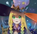 1girl alternate_costume artist_name black_eyes blonde_hair blue_fire blush blush_stickers braid candle candy commentary_request cosmog cross dated fire food gastly gen_1_pokemon gen_5_pokemon gen_7_pokemon graveyard green_eyes halloween hand_up hat haunter inuyabu_cc juliet_sleeves lillie_(pokemon) litwick long_sleeves looking_at_viewer mimikyu neck_ribbon open_mouth outdoors pokemon pokemon_(creature) pokemon_(game) pokemon_sm puffy_sleeves rare_candy red_neckwear red_ribbon ribbon sharp_teeth signature smile solo_focus sweat teeth tied_hair tombstone twin_braids yellow_eyes