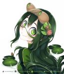 1girl artist_name asui_tsuyu bodysuit boku_no_hero_academia flower goggles goggles_on_head green_bodysuit green_eyes green_hair hair_flower hair_ornament head_tilt lily_pad long_hair looking_at_viewer looking_back quiss smile solo upper_body very_long_hair watermark web_address