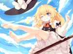1girl ;d bare_legs barefoot blonde_hair bloomers blue_eyes blush bow bowtie braid broom broom_riding clouds day feet finger_to_eye from_below grin hair_between_eyes hair_bow hat hat_bow hat_removed headwear_removed highres kirisame_arisa kirisame_marisa kneepits legs legs_up long_hair one_eye_closed open_mouth puffy_short_sleeves puffy_sleeves red_neckwear short_sleeves side_braid sitting skirt skirt_set sky smile soles solo star toes touhou underwear witch_hat