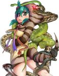 1girl annotated aqua_hair cobra_(animal) commentary doitsuken from_behind hands_in_pockets hood hood_up hoodie kemono_friends looking_at_viewer looking_back neck_ribbon ribbon sharp_teeth simple_background snake snake_tail solo striped_hoodie striped_tail tail teeth translated tsuchinoko_(kemono_friends) white_background