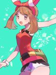 1girl arm_up bad_id bad_pixiv_id bag bangs bare_shoulders blush blush_stickers breasts brown_eyes brown_hair cowboy_shot fanny_pack green_background happy haruka_(pokemon) highres looking_at_viewer medium_breasts medium_hair open_mouth outstretched_arm pokemon pokemon_(game) pokemon_oras red_shirt ririmon shirt short_shorts shorts simple_background sleeveless sleeveless_shirt smile solo sparkle standing watch watch white_shorts