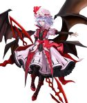 absurdres alternate_costume alternate_wings bad_id bad_twitter_id bat_wings black_legwear blue_hair commentary commentary_request hat highres hyeondo koumajou_densetsu looking_to_the_side mob_cap outstretched_arm red_eyes remilia_scarlet short_hair simple_background smile touhou white_background wings
