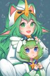 2girls alternate_costume alternate_eye_color alternate_hair_color alternate_hairstyle animal_hood artist_name blue_background blue_eyes breasts gloves green_eyes green_hair green_nails hood horn league_of_legends long_hair looking_at_viewer lulu_(league_of_legends) magical_girl multiple_girls nail_polish nanumn pajamas pointy_ears sitting smile soraka star_guardian_(league_of_legends) star_guardian_lulu star_guardian_soraka very_long_hair wand yordle