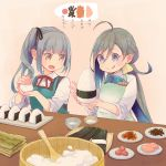 2girls :o :q ahoge apron black_ribbon blue_hair bow bowl bowtie brown_eyes colis food fruit grey_eyes grey_hair hair_between_eyes hair_ribbon kantai_collection kasumi_(kantai_collection) kiyoshimo_(kantai_collection) long_hair multicolored_hair multiple_girls name_tag neck_ribbon nori_(seaweed) ohitsu onigiri open_mouth plate red_ribbon remodel_(kantai_collection) ribbon rice rice_spoon side_ponytail sleeves_pushed_up tongue tongue_out translated twitter_username umeboshi very_long_hair you're_doing_it_wrong