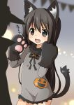 1girl :d animal_costume animal_ears black_eyes black_hair cat_costume cat_ears cat_paws cat_tail commentary_request dress fang frilled_dress frills gia_(abab0707) gloves grey_dress halloween halloween_costume highres jack-o'-lantern_ornament long_hair long_sleeves open_mouth original paw_gloves paws pumpkin short_dress smile tail translated