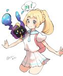 1girl artist_name backpack bad_id bad_pixiv_id bag blonde_hair blush blush_stickers braid closed_mouth cosmog cropped_legs french_braid green_eyes happy highres lillie_(pokemon) looking_to_the_side miniskirt open_mouth outstretched_arms pleated_skirt pokemon pokemon_(creature) pokemon_(game) pokemon_sm ponytail ririmon shirt short_sleeves signature simple_background skirt smile speech_bubble standing tied_hair twitter_username white_background white_shirt white_skirt