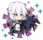 1girl bandaged_arm bandages bangs black_cloak black_footwear black_gloves black_legwear black_panties black_shirt blush boots breasts chibi cloak commentary dagger eyebrows_visible_through_hair facial_scar fate/grand_order fate_(series) gloves green_eyes hair_between_eyes holding holding_dagger holding_weapon jack_the_ripper_(fate/apocrypha) looking_at_viewer milkpanda navel panties parted_lips scar scar_across_eye scar_on_cheek shirt shoulder_tattoo silver_hair single_glove sleeveless sleeveless_shirt small_breasts solo tattoo thigh-highs thigh_boots underwear v-shaped_eyebrows weapon