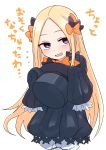 1girl abigail_williams_(fate/grand_order) bangs black_bow black_dress black_headwear blonde_hair blue_eyes blush bow commentary_request dress fate/grand_order fate_(series) forehead hair_bow hat highres long_hair orange_bow parted_bangs purple_bow red_eyes shiromanta sleeves_past_fingers sleeves_past_wrists solo top_hat translated very_long_hair white_skin