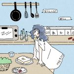 1girl bangs blue_background blue_eyes blue_hair blush bottle candy dress egg eyebrows_visible_through_hair food food_in_mouth frying_pan highres kitchen looking_at_viewer medium_hair microwave noeru_(noellemonade) original short_sleeves smile solo spatula speech_bubble translated upper_body whisk