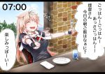 1girl baileys_(tranquillity650) bangs black_gloves black_ribbon blonde_hair blush breasts chair closed_eyes commentary_request cup day fork gloves gradient_hair hair_flaps hair_ornament hair_ribbon hairclip happy highres holding holding_fork holding_knife indoors kantai_collection knife letterboxed long_hair messy_hair multicolored_hair neckerchief open_mouth plate remodel_(kantai_collection) ribbon scarf school_uniform serafuku sidelocks signature sitting sleeve_cuffs smile solo table translated twitter_username yuudachi_(kantai_collection)