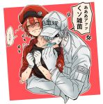 1boy 1girl ae-3803 ahoge anger_vein baseball_cap biting black_eyes black_shirt blush bra_strap breasts cabbie_hat closed_eyes collared_shirt embarrassed gloves hair_over_one_eye hat hataraku_saibou hug hug_from_behind jacket long_sleeves medium_breasts misuki_op1155 name_tag no_pupils off_shoulder red_background red_blood_cell_(hataraku_saibou) red_headwear red_jacket redhead shirt shirt_pull short_hair short_sleeves simple_background spiky_hair sweat t-shirt translated two-tone_background u-1146 upper_body wavy_mouth white_background white_blood_cell_(hataraku_saibou) white_gloves white_hair white_headwear white_shirt