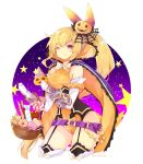 1girl ;) arm_scrunchie bare_shoulders basket belt blonde_hair bow breasts candy cape contrapposto corset cowboy_shot diagonal_stripes dragalia_lost elbow_gloves elisanne food fruitfroze garter_straps gloves hair_ornament halloween halloween_costume high_collar highres jack-o'-lantern jack-o'-lantern_hair_ornament large_breasts leotard long_hair looking_at_viewer loose_belt night one_eye_closed orange_leotard orange_scrunchie ponytail pumpkin purple_belt scrunchie smile solo spider_web_hair_ornament star striped striped_bow thigh-highs very_long_hair violet_eyes white_gloves