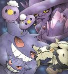 :3 beanie black_eyes blue_background blush closed_mouth drifloon gen_1_pokemon gen_4_pokemon gen_7_pokemon gengar ghost hat highres holding hood kashiwa_(3920kashiwa) light_blush looking_at_viewer mimikyu mismagius no_humans pokemon pokemon_(creature) purple_headwear red_eyes red_sclera smile teeth white_eyes yellow_headwear