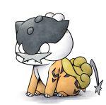 alternate_color chibi claws fangs full_body gen_2_pokemon kashiwa_(3920kashiwa) lowres no_humans o_o pokemon pokemon_(creature) raikou shiny_pokemon simple_background sitting solo white_background white_eyes