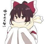 1girl bangs blush bow breath brown_eyes brown_hair commentary_request detached_sleeves eyebrows_visible_through_hair frilled_bow frills hair_between_eyes hair_bow hakurei_reimu hands_together hands_up japanese_clothes leon_(mikiri_hassha) long_sleeves miko red_bow scarf simple_background sleeves_past_fingers sleeves_past_wrists solo touhou translated upper_body white_background yellow_scarf