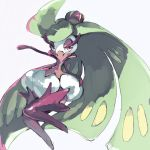 1girl arm_up full_body gen_7_pokemon green_hair grey_background half-closed_eyes highres long_hair looking_at_viewer no_humans no_mouth outstretched_arm pink_eyes plant_girl pokemon pokemon_(creature) simple_background solo takase_(takase1214) tsareena very_long_hair