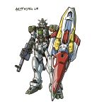 full_body gun gundam gundam_wing highres ishiyumi looking_at_viewer mecha no_humans original shield simple_background standing translated weapon white_background
