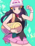 1girl bad_id bad_pixiv_id bag bare_shoulders beanie black_eyes black_shirt blue_hair blush blush_stickers bracelet breasts closed_mouth cowboy_shot duffel_bag green_background happy hat highres hikari_(pokemon) holding holding_poke_ball jewelry long_hair looking_at_viewer miniskirt pink_skirt poke_ball poke_ball_(generic) poke_ball_symbol poke_ball_theme pokemon pokemon_(game) pokemon_dppt red_scarf ririmon scarf shirt simple_background skirt sleeveless sleeveless_shirt small_breasts smile solo sparkle standing tied_hair white_headwear