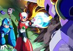 3boys absurdres android arm_cannon armor blonde_hair blue_eyes clenched_hand commentary damaged dated green_eyes hand_on_floor helmet highres innovator123 kneeling long_hair male_focus multiple_boys one_eye_closed robot rockman rockman_x signature smoke standing vava watermark weapon web_address x_(rockman) zero_(rockman)