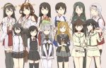 6+girls abukuma_(kantai_collection) akagi_(kantai_collection) asashio_(kantai_collection) bauxite black_footwear black_hair black_legwear blonde_hair blue_eyes bodysuit brown_eyes brown_hair bucket cape closed_mouth collared_shirt commentary_request gloves grey_cape hair_rings haruna_(kantai_collection) hayasui_(kantai_collection) holding holding_hands japanese_clothes kaga_(kantai_collection) kantai_collection kitakami_(kantai_collection) kongou_(kantai_collection) long_hair long_sleeves multiple_girls one_side_up ooi_(kantai_collection) pantyhose red_ribbon remodel_(kantai_collection) ribbon satsumi shirt shoukaku_(kantai_collection) side_ponytail silver_hair simple_background sketch smile standing suzutsuki_(kantai_collection) thigh-highs white_bodysuit white_shirt zuikaku_(kantai_collection)