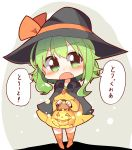 1girl :o bangs black_cape black_headwear blush cape carrot chibi dress fang full_body green_eyes green_hair gumi halloween halloween_costume hat hat_ribbon highres holding jack-o'-lantern long_sleeves looking_at_viewer orange_legwear orange_ribbon pachio_(patioglass) ribbon short_hair_with_long_locks solo standing translated trick_or_treat v-shaped_eyebrows vocaloid witch_hat yellow_dress
