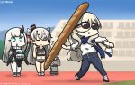 3girls abyssal_patrolling_attack_hawk alternate_costume amatsukaze_(kantai_collection) baguette blonde_hair blue_eyes blue_pants blue_scarf blush bread closed_eyes commentary dated denim eyebrows_visible_through_hair food german_escort_hime hair_ornament hair_tubes hamu_koutarou highres holding holding_food horn jeans kantai_collection long_hair long_sleeves multiple_girls name_tag navel open_mouth pants rensouhou-kun richelieu_(kantai_collection) scarf shinkaisei-kan shirt short_hair silver_hair smokestack_hair_ornament sunglasses translated two_side_up v-shaped_eyebrows white_hair white_shirt windsock