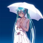 1girl aqua_hair aqua_nails blue_background breasts collarbone cowboy_shot dress fingernails gradient gradient_background hatsune_miku looking_down nail_polish open_clothes small_breasts solo twintails umbrella undressing vocaloid white_dress white_umbrella wokada