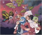 1boy 1girl artist_name bad_id bad_pixiv_id ball beanie beautifly black_eyes black_hair blue_eyes blue_jacket border chimchar clouds drifblim drifloon gen_3_pokemon gen_4_pokemon grey_border hair_ornament hairclip happy hat hikari_(pokemon) holding holding_ball holding_poke_ball jacket kouki_(pokemon) long_hair long_sleeves looking_up mothim on_head open_mouth outdoors outside_border pink_coat piplup poke_ball poke_ball_(generic) poke_ball_symbol poke_ball_theme pokemon pokemon_(creature) pokemon_(game) pokemon_dppt pokemon_on_head pokemon_on_shoulder pokemon_platinum profile red_headwear red_shirt red_sky ririmon scarf shirt short_hair signature sky smile standing sunset tied_hair turtwig twitter_username white_headwear white_scarf yellow_sclera