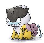 chibi claws fangs full_body gen_2_pokemon kashiwa_(3920kashiwa) lowres no_humans o_o pokemon pokemon_(creature) raikou simple_background sitting solo white_background white_eyes